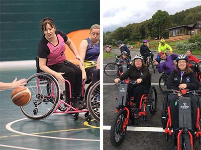 basketball women inclusive team electric power add-on wheelchair attachment